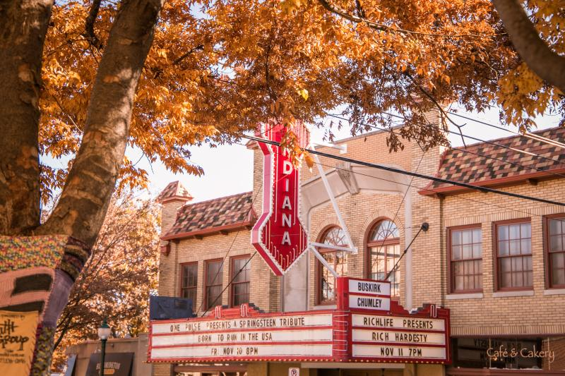 Exterior of the Buskirk-Chumley Theater in Bloomington, IN during fall