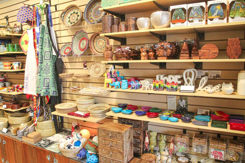 Display of coffee mugs, figurines, vases, and more at Global Gifts