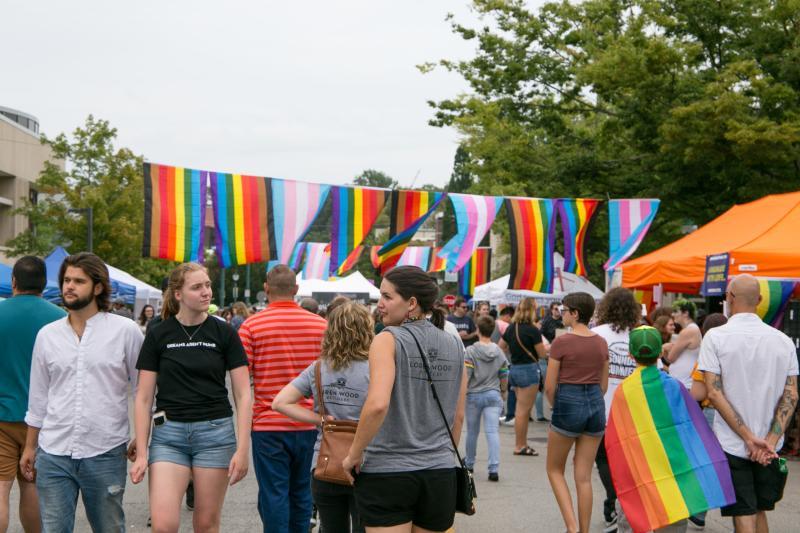 People walking around at Pridefest