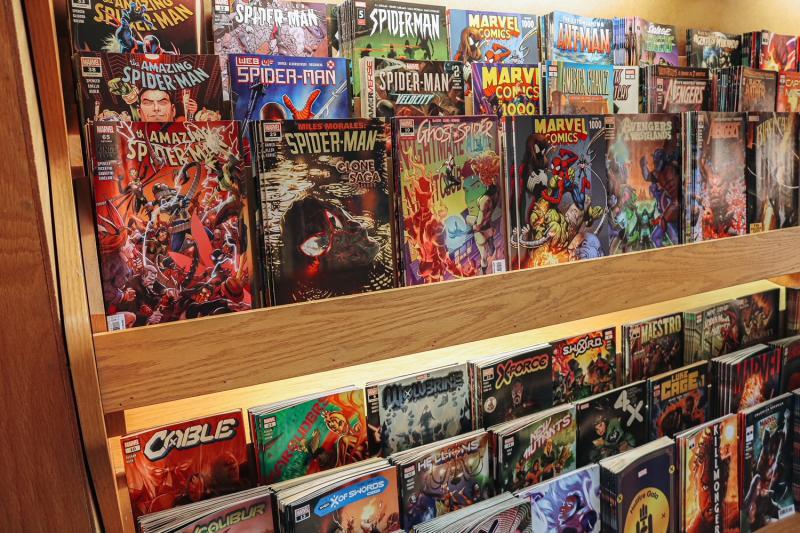A display of Marvel comic books at Vintage Phoenix Comic Books