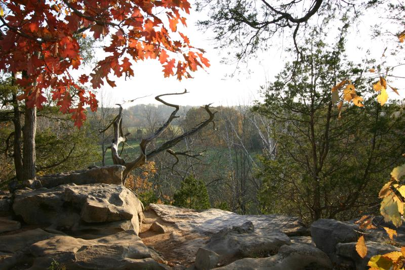 A view off a cliff-top at Cedar Bluff Nature Preserve during fall