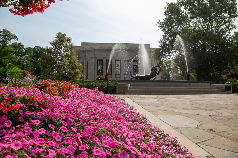 Showalter Fountain surrounded by flowers