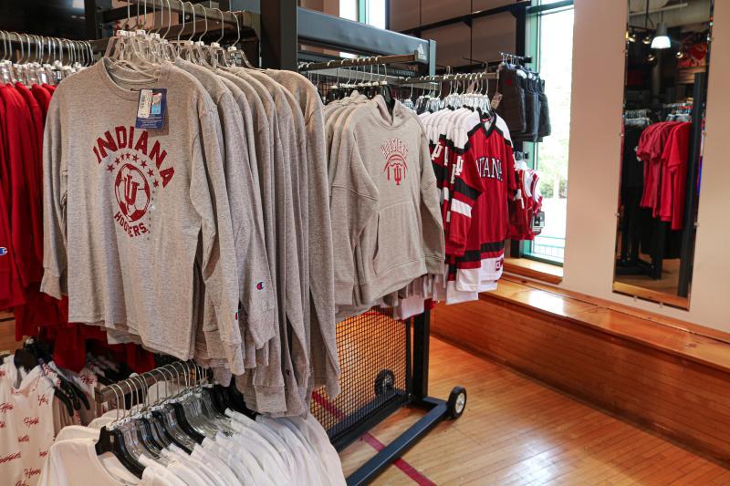 Long-sleeved t-shirts and other apparel at IU Varsity Shop