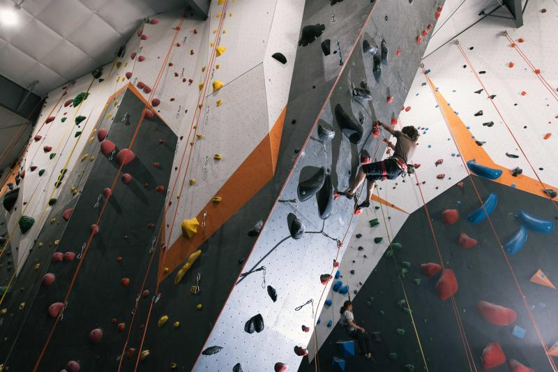 Person clicking the rock wall at Hoosier Heights
