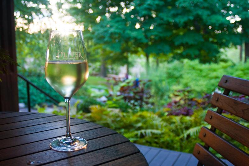 Glass of white wine sitting on a table outdoors at the Oliver Winery in Bloomington, IN