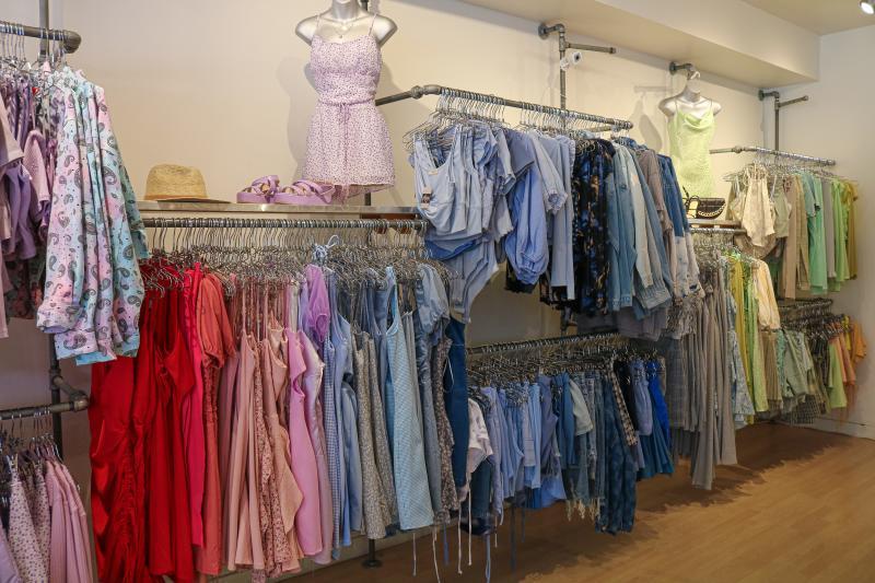 Racks of clothing at Pitaya