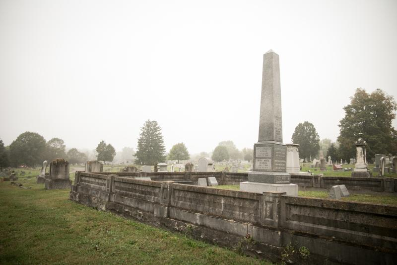 Rose Hill Cemetery in Bloomington, IN on an overcast day
