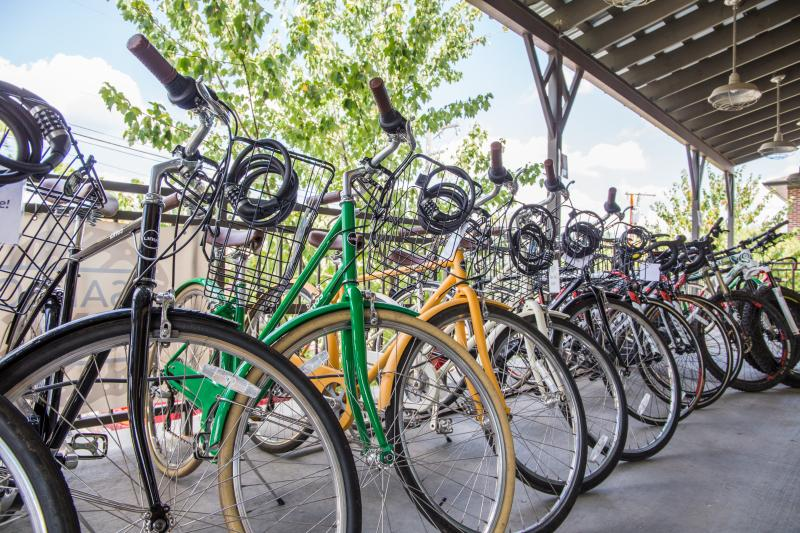 bikes with baskets and locks lined up