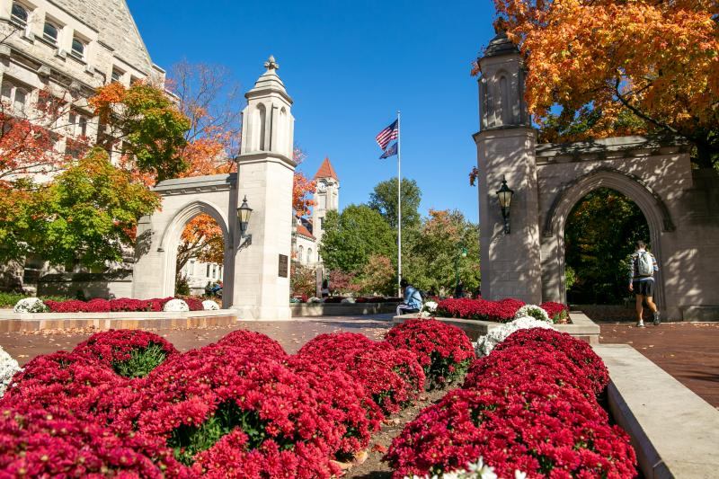 Sample Gates on Indiana University's campus during fall
