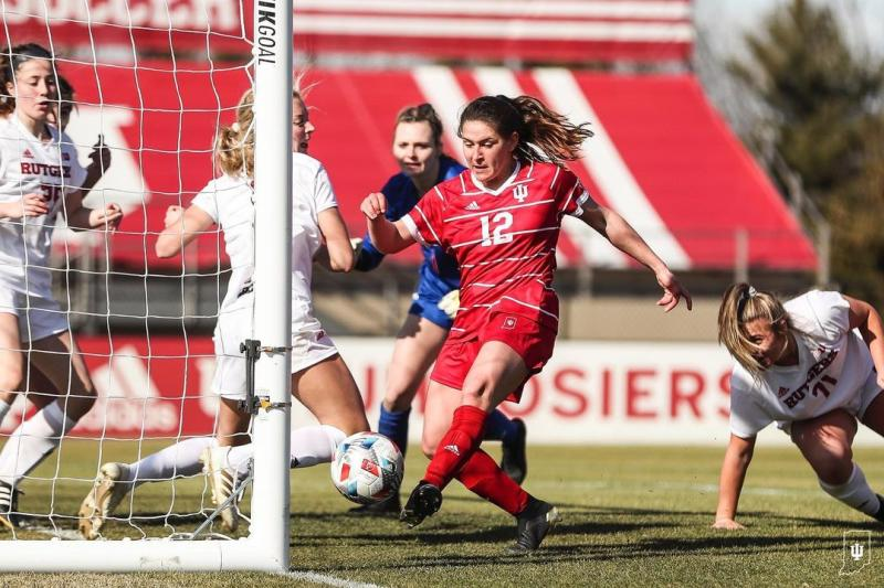 And IU women's soccer player shooting to make a goal