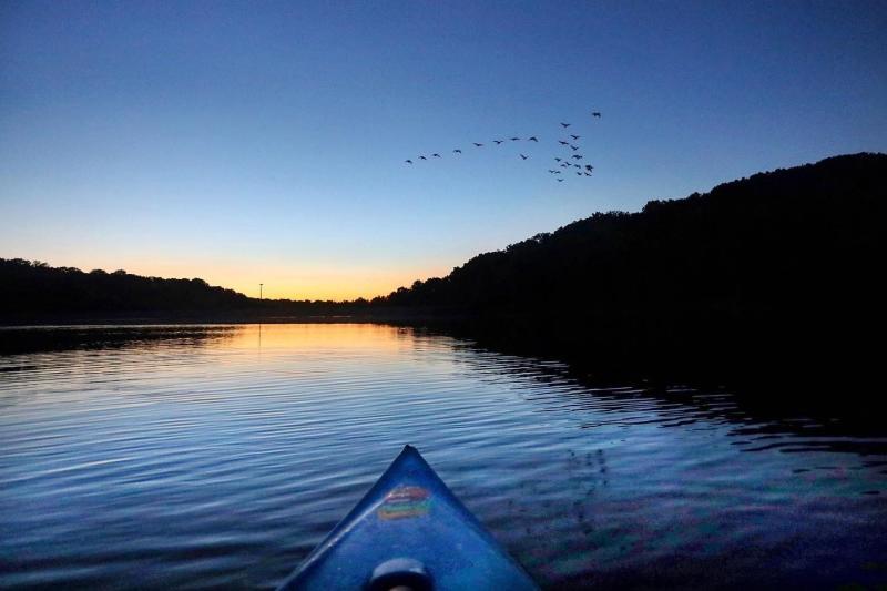 Kayaking on Griffy Lake at sunset