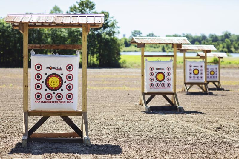 Outdoor range and targets at The Sporting Club at the Farm Archery