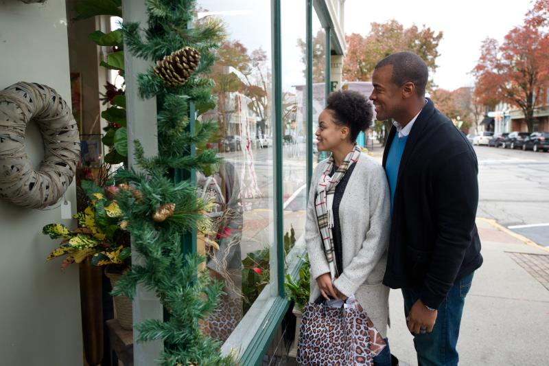 Man and woman window shopping in downtown Jeffersonville