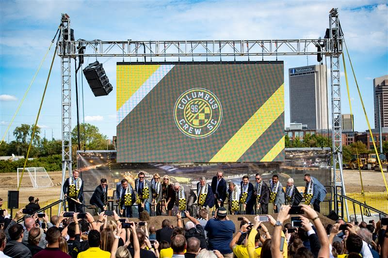 Columbus officials gather for the Columbus Crew SC's new downtown stadium groundbreaking in the Arena District