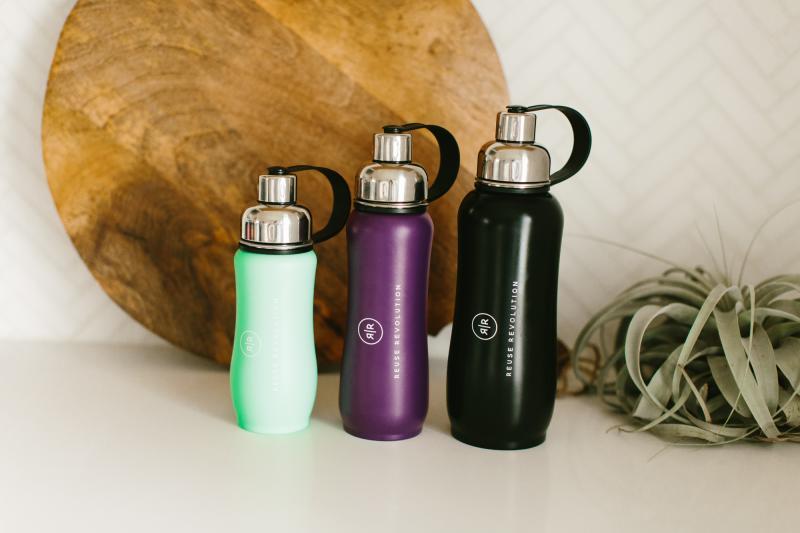 Colorful Reuse Revolution reusable water bottles