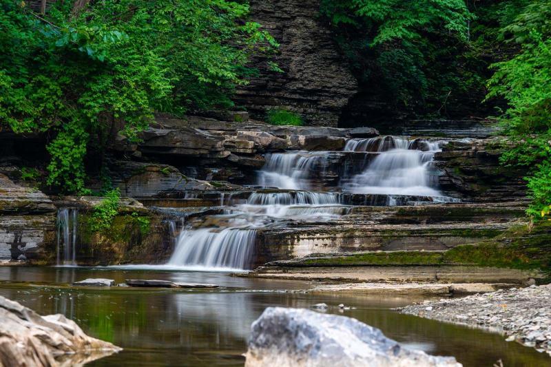 Havana Glen Park waterfalls in the summer near Watkins Glen in Finger Lakes Wine Country