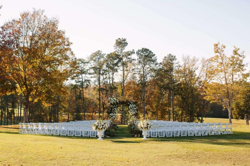 Chairs and wedding alter set up at The Club in Milledgeville, GA