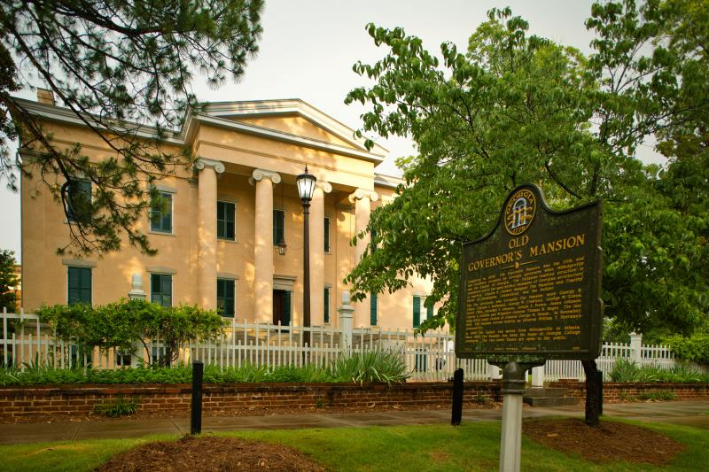 Exterior of the Old Governor's Mansion in Milledgeville, GA
