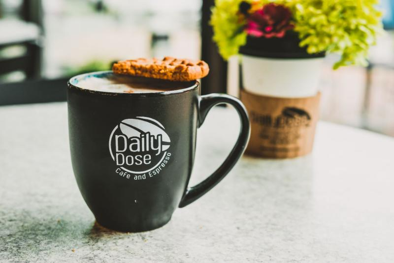 Coffee and cookie at Daily Dose Cafe and Espresso