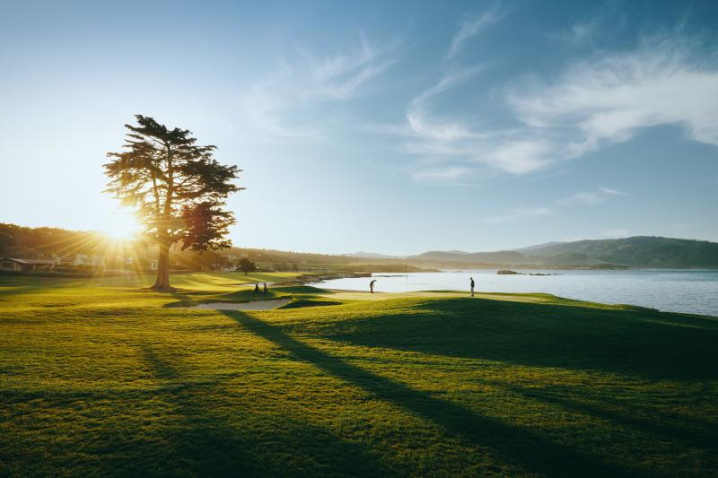 Sun rising over Pebble Beach Golf Links