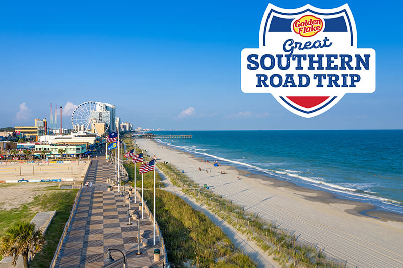 Golden Flake Great Southern Roadtrip Contest - Aerial shot of Myrtle Beach with Golden Flake giveaway logo - opens in new window