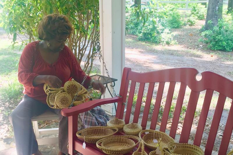 Basket weaving at Hopsewee Plantation, Myrtle Beach, SC