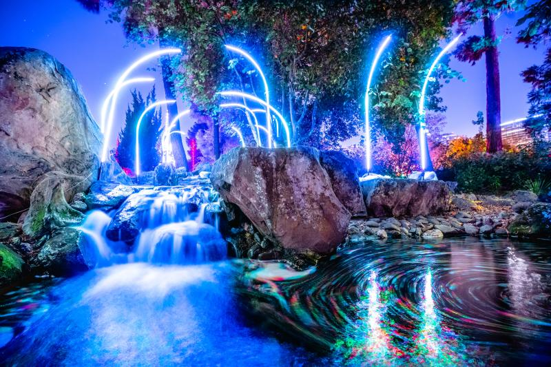 Bright lights illuminate a water feature during the Autumn Lights Festival in 2019.