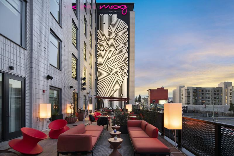 Moxy Outdoor Terrace seating with couches, chairs, and tables in Oakland, CA