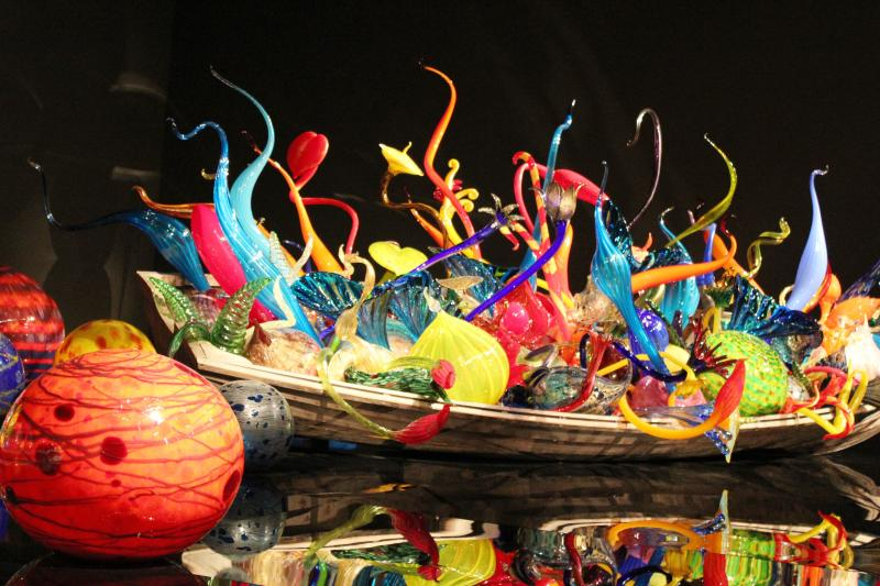Chihuly Glass Museum glass sculptures in boat