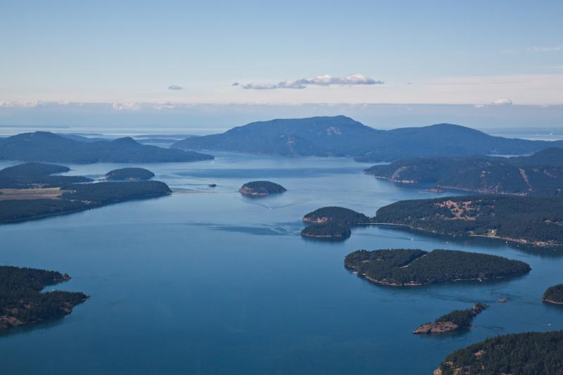 San Juan Islands Aerial View of Orca Whale Territory