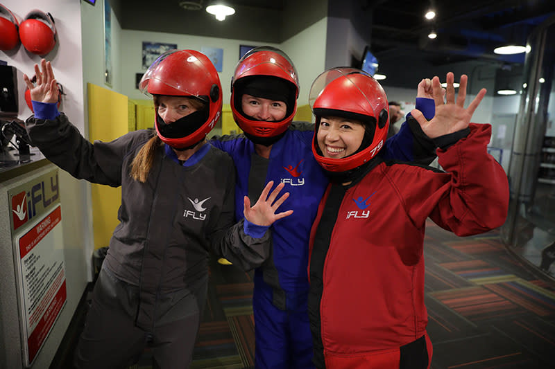3 young women in gear at iFly Indoor Skydiving in Tukwila