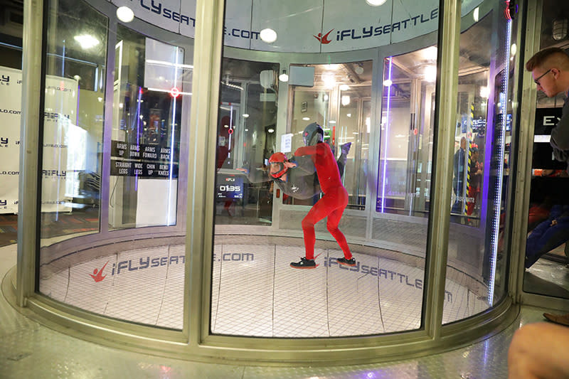 Floating inside the wind tunnel at iFly Indoor Skydiving in Tukwila