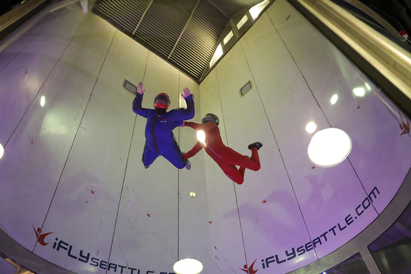 Flying high in the air at iFly Indoor Skydiving in Tukwila
