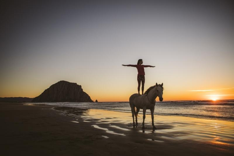 A woman standing on a horse on the beach at sunset in Morro Bay. SLO CAL