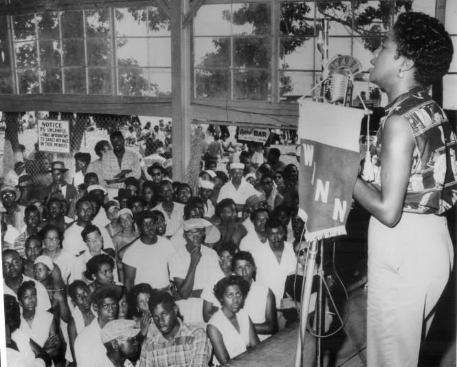 Sarah Vaughn speaking over WANN Circa 1956-58,