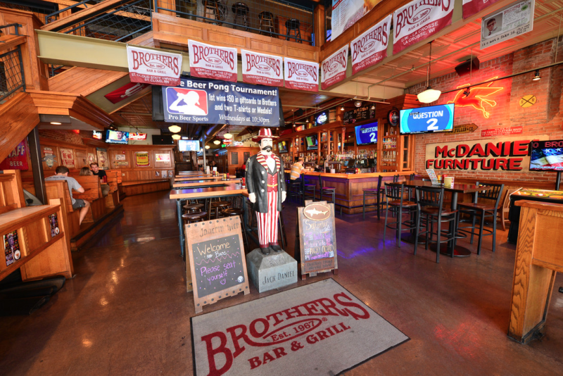 Inside of the downstairs of Brothers Bar & Grill
