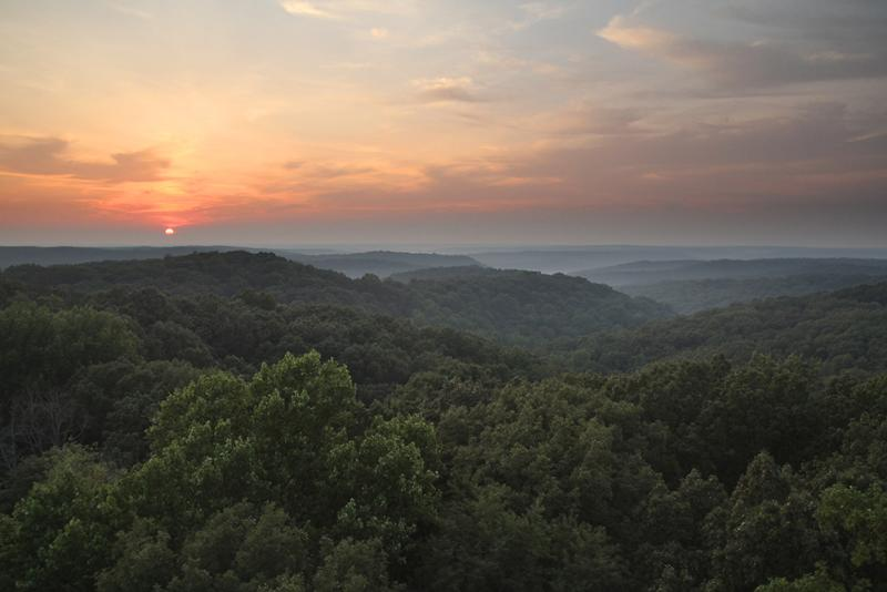 Tree-top view of the Deam Wilderness with the sun setting