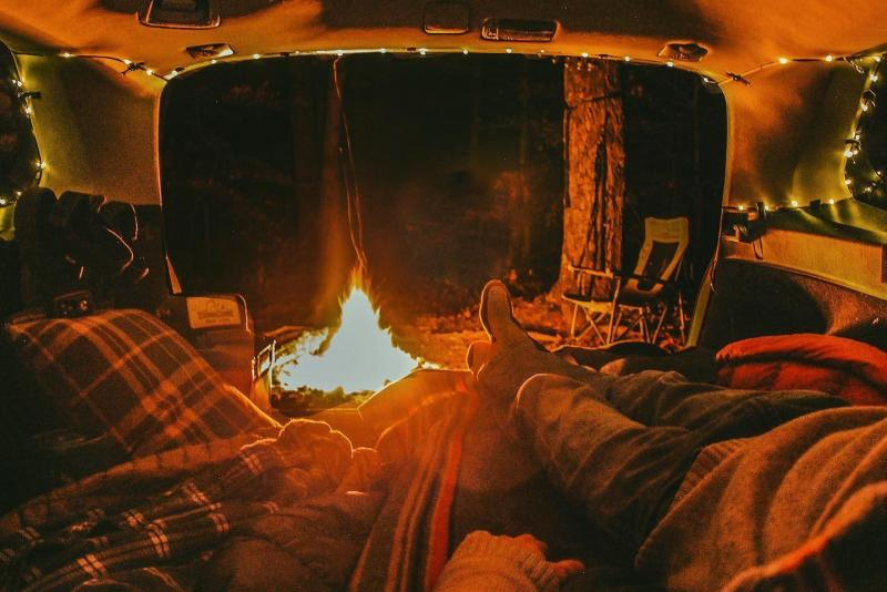 A campsite at night at the Hoosier National Forest
