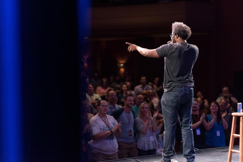 Man performing stand-up at the Limestone Comedy Festival