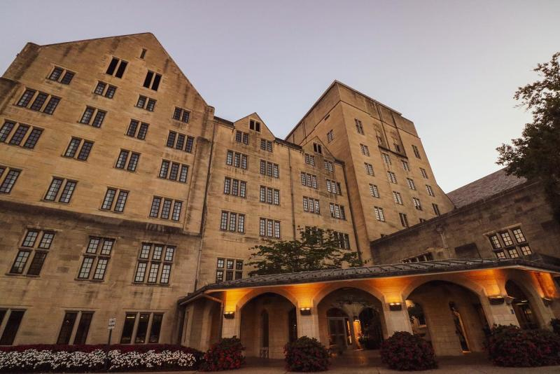 Exterior of the IMU Biddle Hotel at dusk