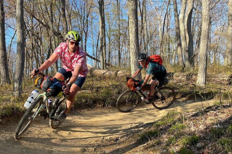 Two men mountain biking at the Hoosier National Forest