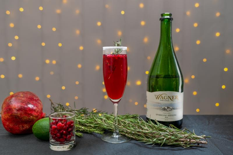 Pomegranate Mimosa - Wagner Sparkling Riesling - Holiday Cocktails