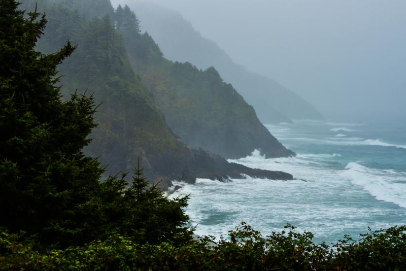 A stormy Oregon Coast in winter.