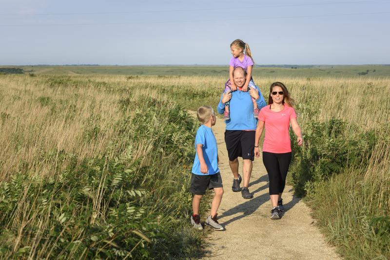 Family out on the Konza Prairie Walking Trail
