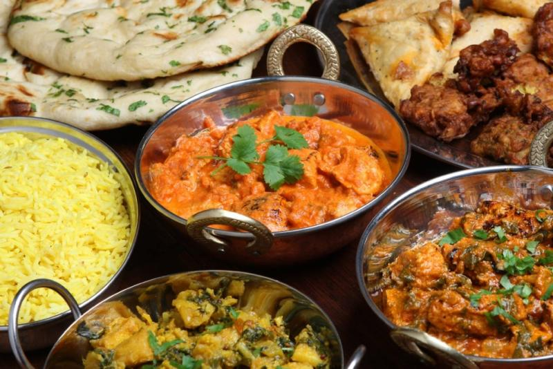 Indian rice, sauces, breads