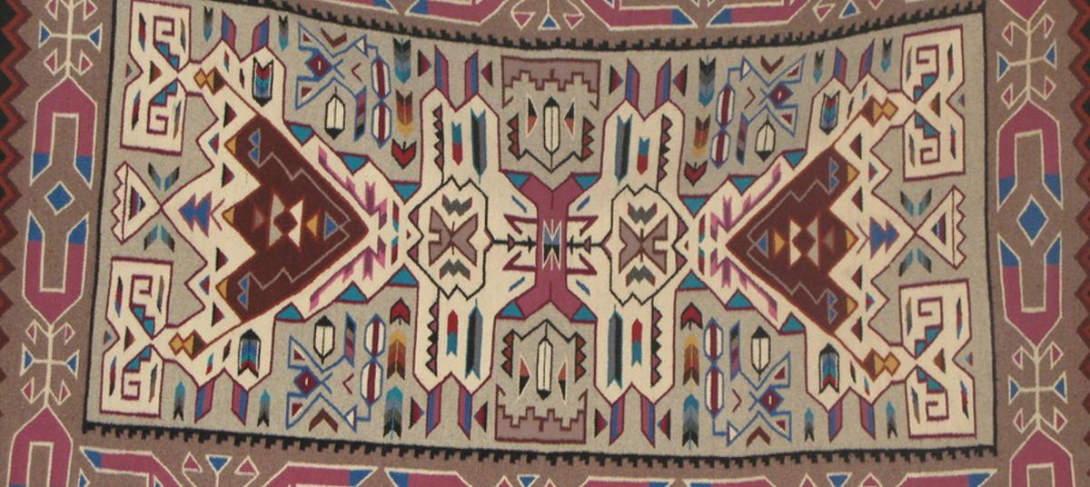 A navajo blanket on sale at Crownpoint Auction