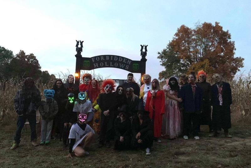 Horror cosplayers at Forbidden Hollows Haunted Farm