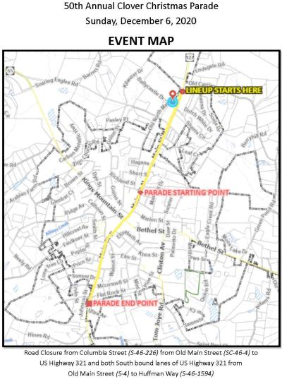 Clover 2020 Parade Map
