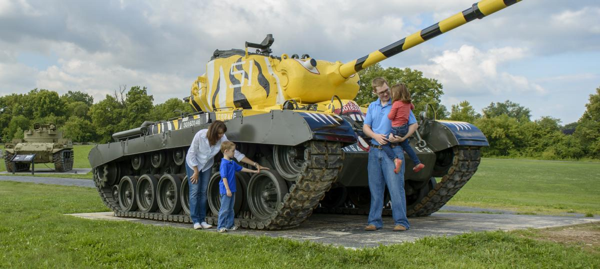 Family Looking At A Tank On The U.S. Army Heritage Trail In The Cumberland Valley