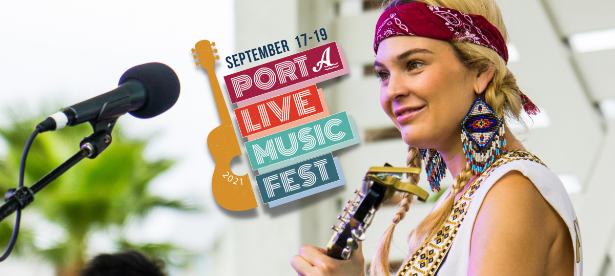 right side -young, blonde woman holding guitar , logo in center, logo is half a guitar with the words Port A Live Music Fest along the right side